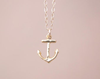 Gold Anchor Necklace | Tiny Gold Anchor Charm Necklace | Anchor Necklace Gold