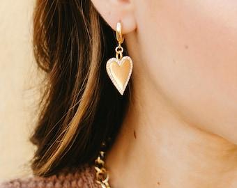Heart Huggie Earrings, Heart Dangle Earrings, Gold Heart Earrings, Harlow Heart Huggies