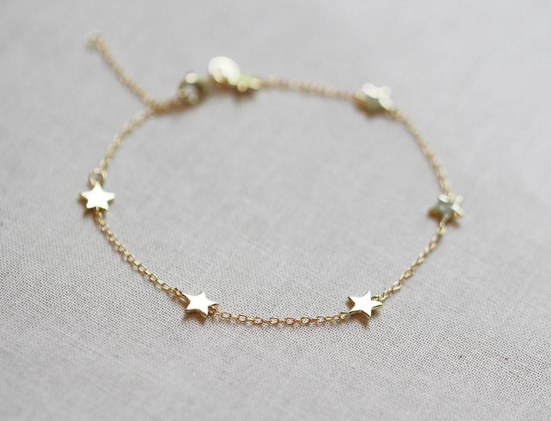 Star Bracelet  Gold or Silver Star Bracelet  Lunar Jewelry image 1