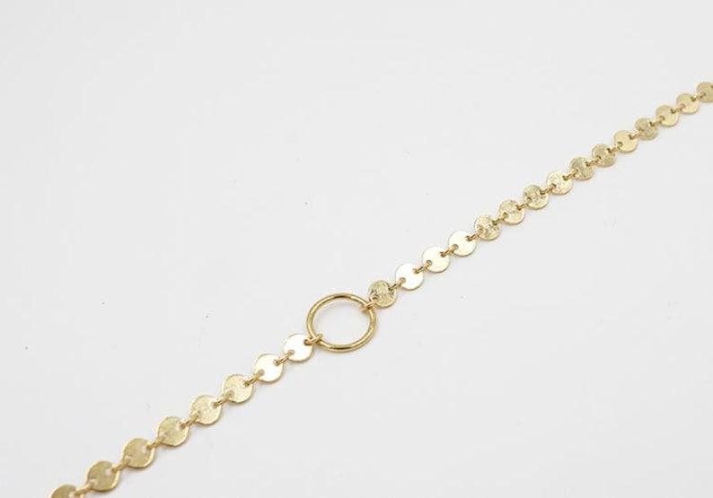 Shine Disc Choker Gold Choker Necklace 14kt Gold Filled or Sterling Silver