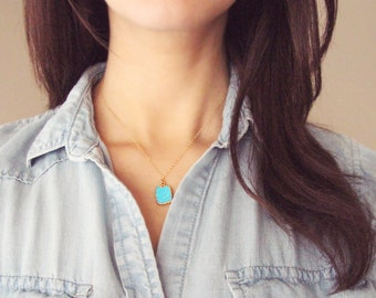 Turquoise Necklace   Turquoise and Gold Necklace