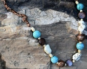 Copper twined leather necklace with turquoise and bone beads - CBD-N2023