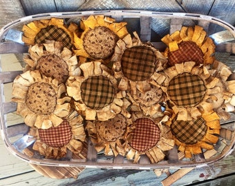 Primitive sunflowers , autumn sunflowers , sunflower bowl fillers,