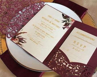 Wedding invitations etsy laser cut pocket wedding invitation kit burgundy wedding invitation vintage fall floral lasercut suite filmwisefo