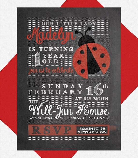 Lady Bug Birthday Party Invite Custom Printable PDF 1st