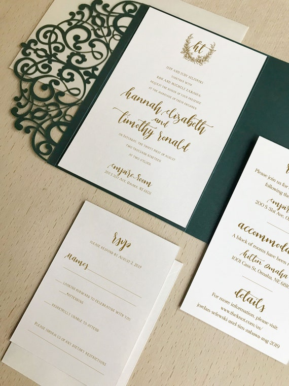 Emerald green pocket wedding invitation kit Dusty green wedding invitation laser cut set Green invite lasercut suite-Green flowers invites