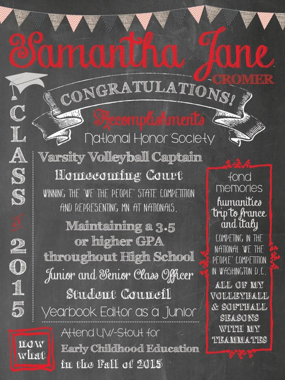graduation chalkboard poster milestone poster activities etsy