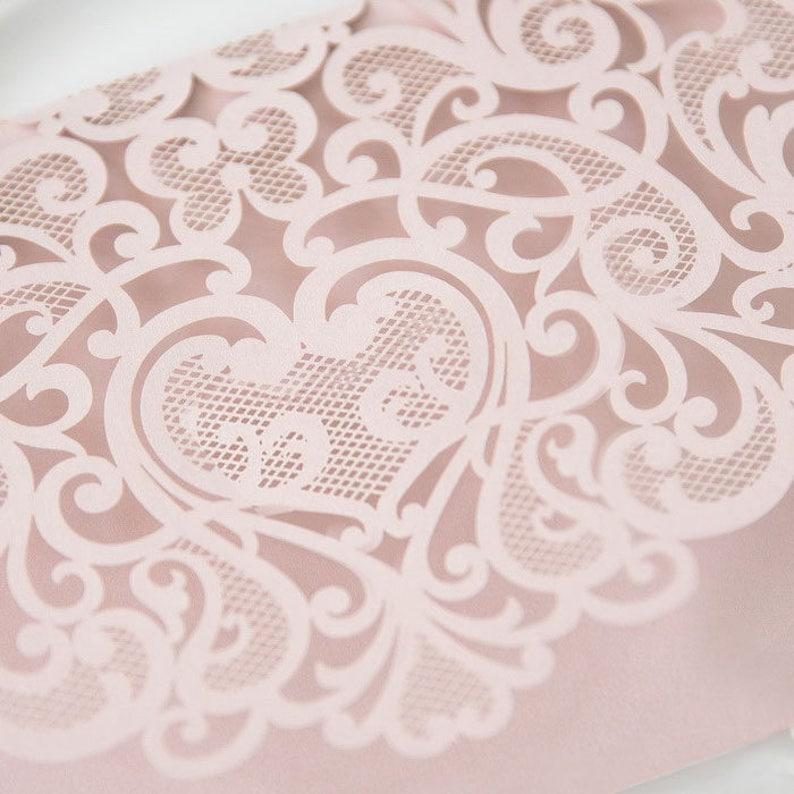 Laser Cut Pocket  Blush Wedding Invitation  Pink Lasercut image 0