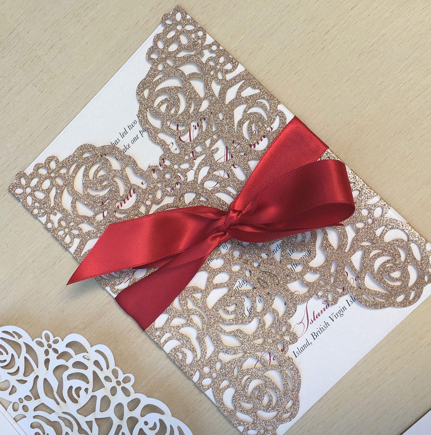 Glitter Laser Cut Wedding Invitation Rose Gold Lasercut