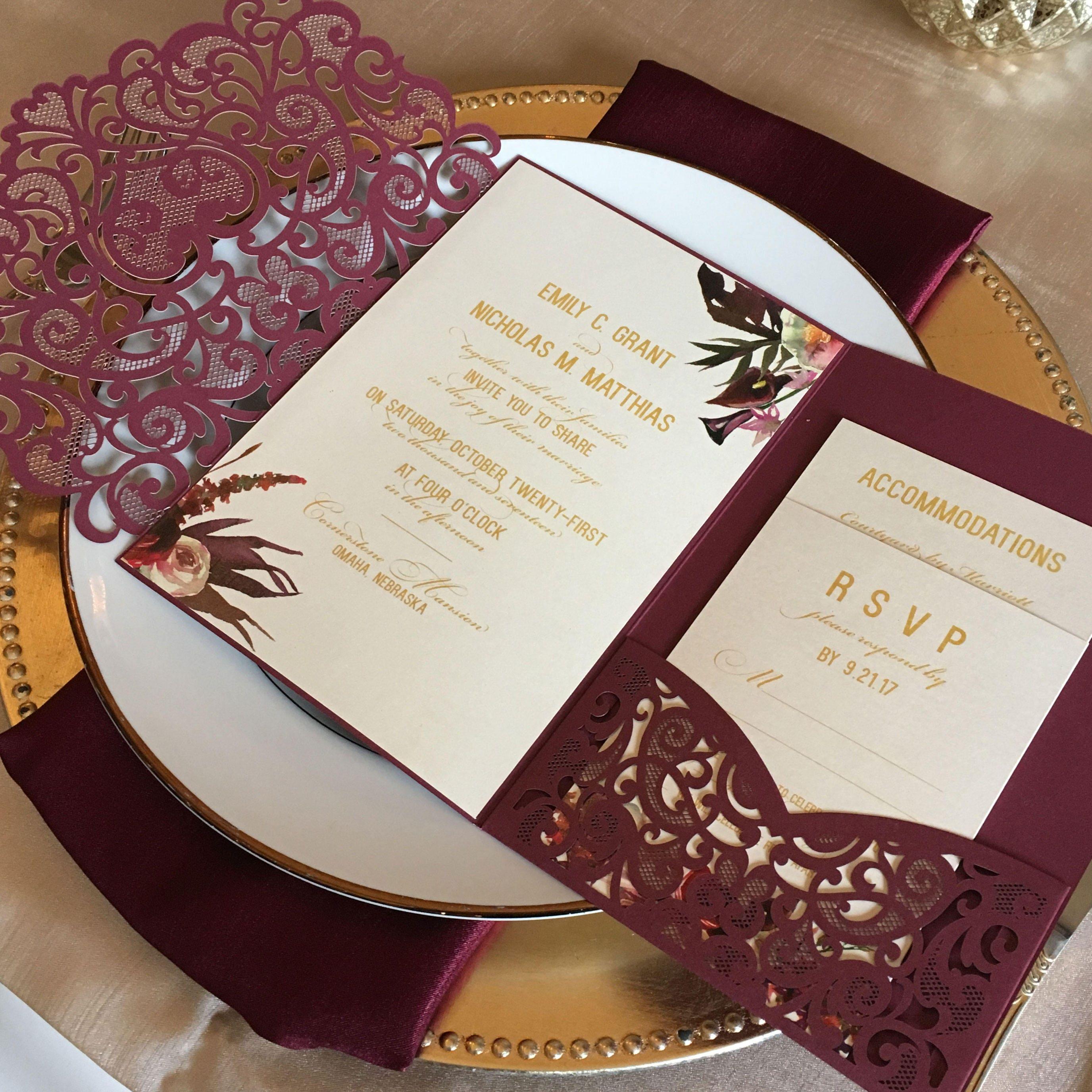 Wedding Invitations With Pockets: Laser Cut Pocket Wedding Invitation Kit Burgundy Wedding