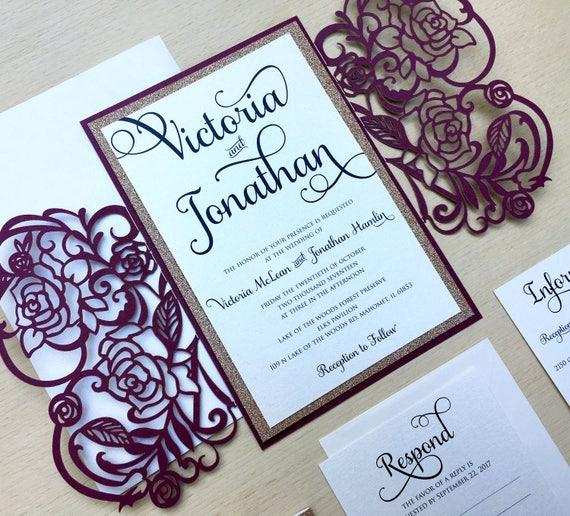 7d9447edf7d6a Laser Cut Gatefold Wedding Invitation - Rose Gold Glitter - Burgundy  Wedding Invitation - Elegant Winter Wedding