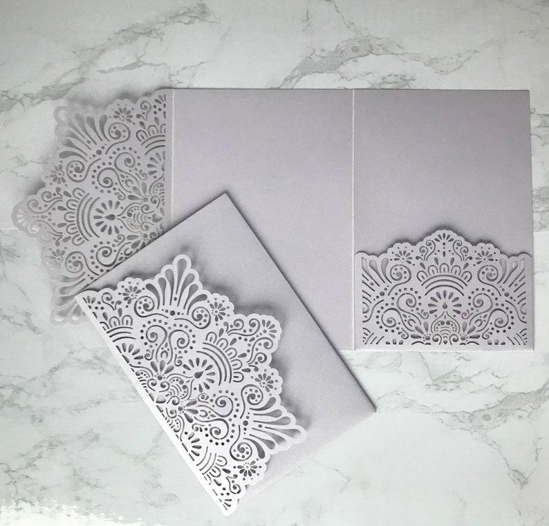 Laser Cut Pocket Wedding Invitation in Lilac
