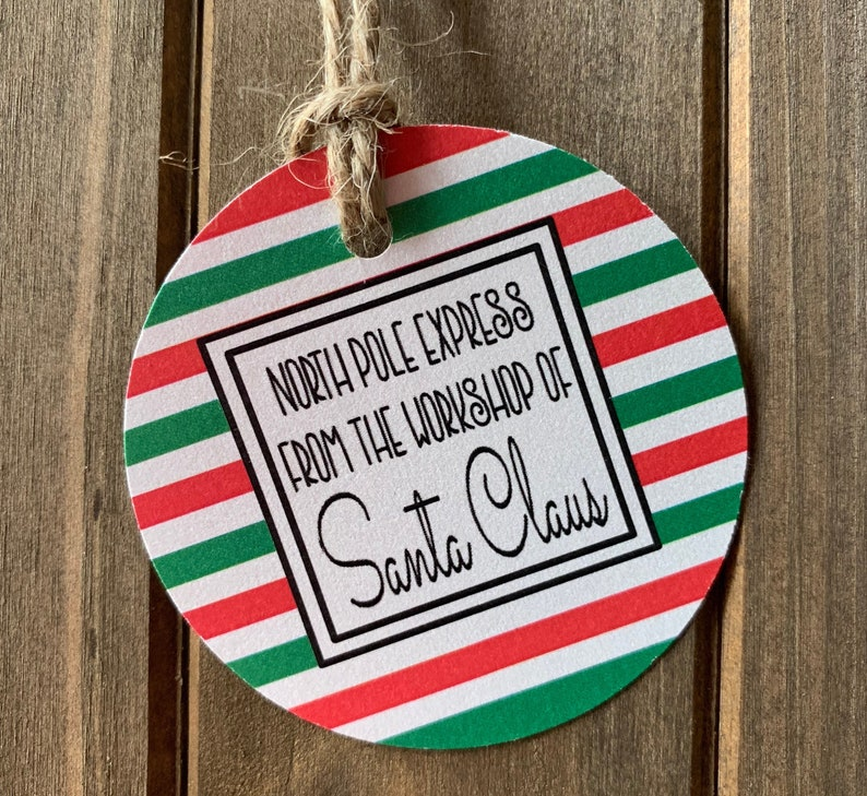 North Pole Gift from Santa Personalized gift tag Christmas gift tag Gift Tag 9SET 2 12 circle with hole for string.