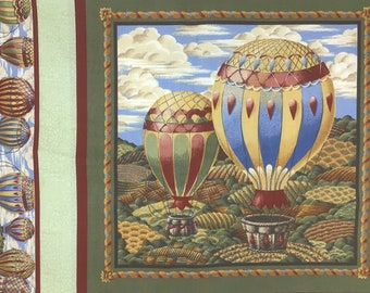 Hot Air Balloon Fabric Panel, Fabric Panel for Quilter, VIP Cranston Print Works Fabric