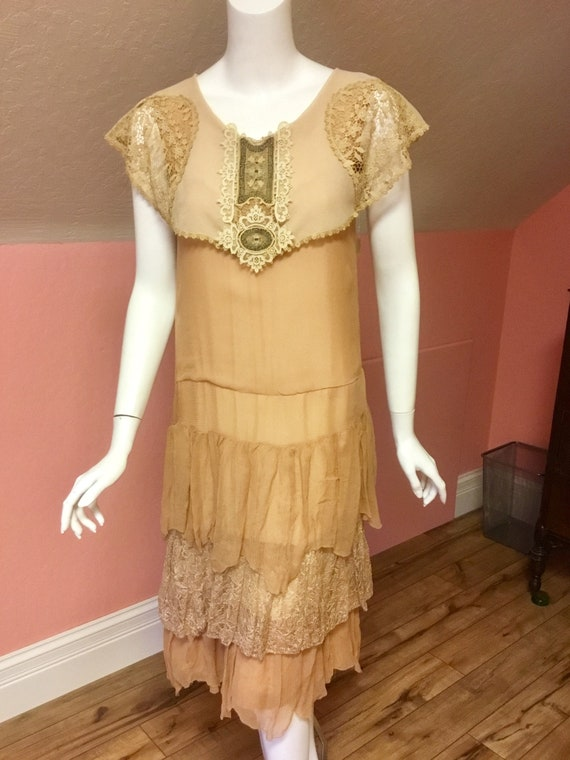 1920s Silk Chiffon and Lace Day Dress with Embroid