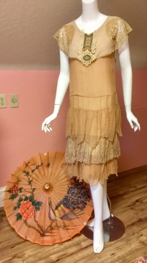 1920s Silk Chiffon and Lace Day Dress with Embroi… - image 6