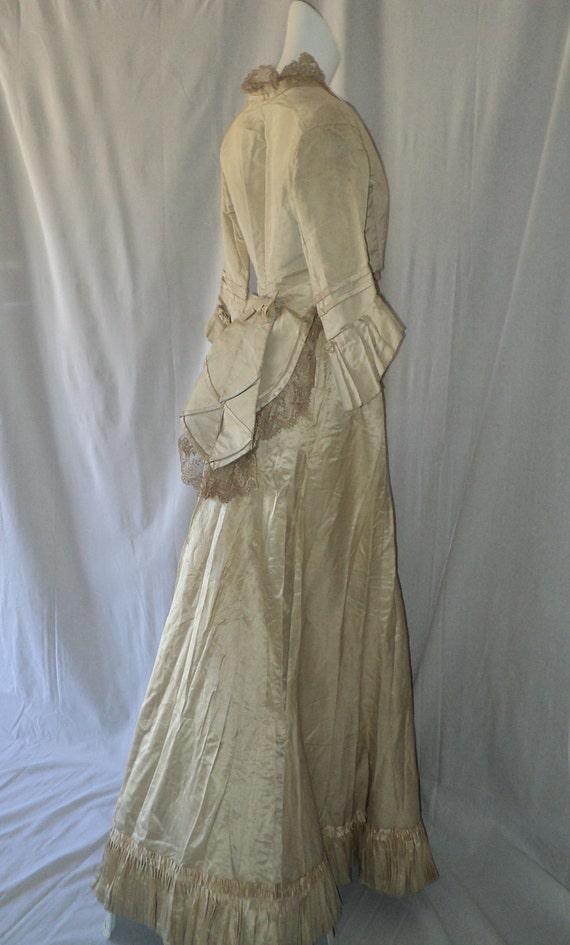 SOLD 19th C Victorian bustle Wedding Dress Ensembl