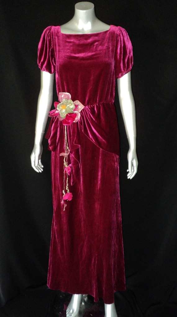 1930's Deep Magenta Silk Velvet DressGown Scarf Waist with Fabulous Silver Lame Flower and leaves