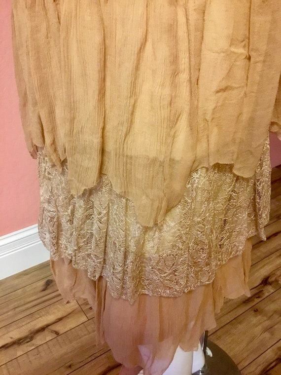 1920s Silk Chiffon and Lace Day Dress with Embroi… - image 4