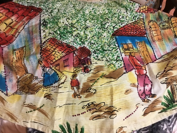 Vintage Mexican Skirt sequin hand painted size 12