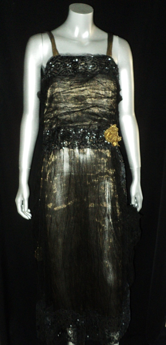 SOLD Teens Gold Lame Black Tulle Dress sequin Bodi
