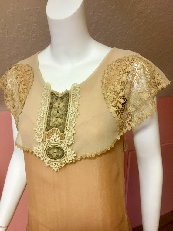 1920s Silk Chiffon and Lace Day Dress with Embroi… - image 2