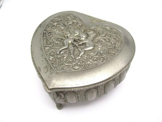 Vintage Heart Box Angel Cherub Red Velvet Jewelry