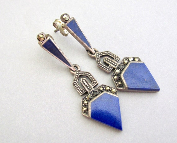 Handmade old silver earrings with natural lapis lazuli from Afghanistan very rare