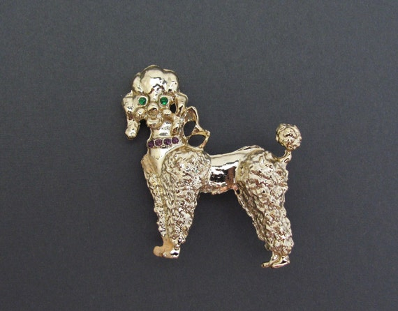 Vintage 1960s Trembler Brooch French Poodle Setting in a Christmas Stocking