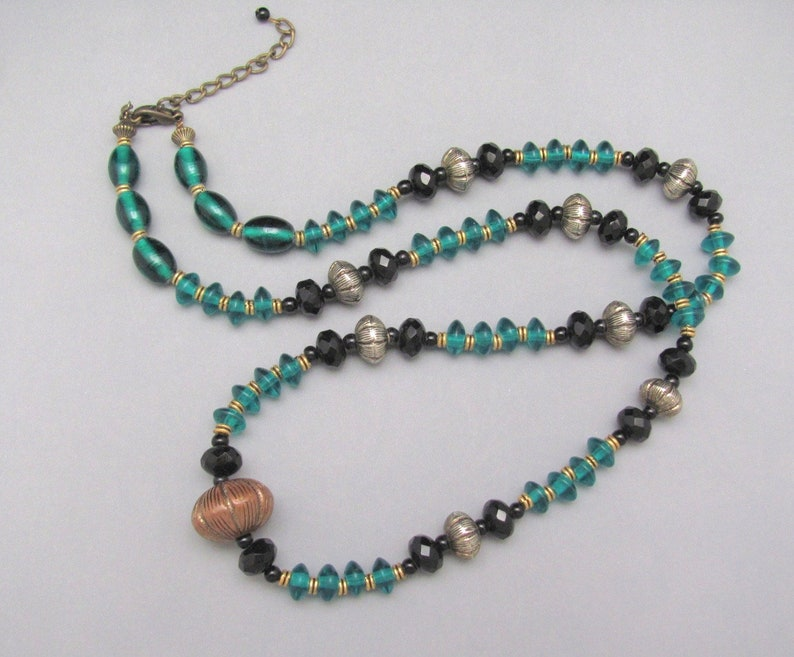 Teal Beaded Necklace Vintage 31 inch Long Mixed Metals Boho Bohemian Love Beads Necklace