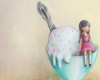 Whimsical art / kids art girl with ice cream