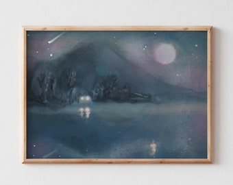 Abstract Landscape art /Night watch illustration/ Whimsical wall art