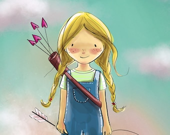 kids wall art/ Valentine /Girl with bow and arrow Love print