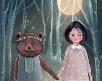 Whimsical folk art print Bear and Girl