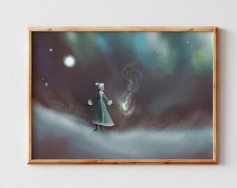 Children's wall art/ Whimsical winter illustration