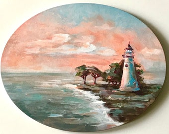 Original painting Marblehead lighthouse on oval canvas 11x14