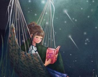 Reading under the stars wall art / whimsical illustration print