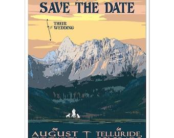 WY Mountain Save the Weekend Card SAMPLE Vintage Jackson Hole