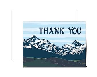 Vintage Montana Mountain Thank You Cards (set of 40)