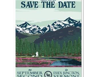 Vintage Alaska Save the Date Postcard - PDF - Digital File