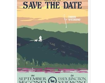 Vintage Summer Mountain Save the Date Postcard - PDF - Digital File