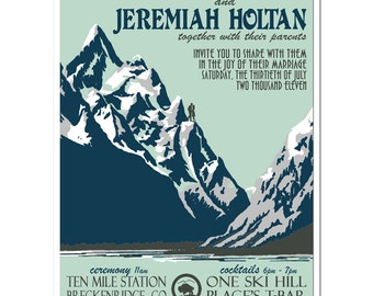 Vintage Jackson Hole, WY Mountain Wedding Invitation (set of 20)