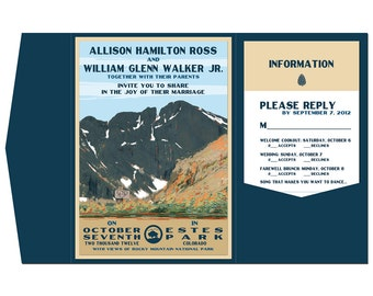 Vintage Long's Peak Wedding Pocket Fold Invitation, Info Card and Reply Postcard set - SAMPLE