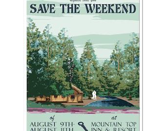 Vintage Dawn Redwoods Save the Weekend - PDF