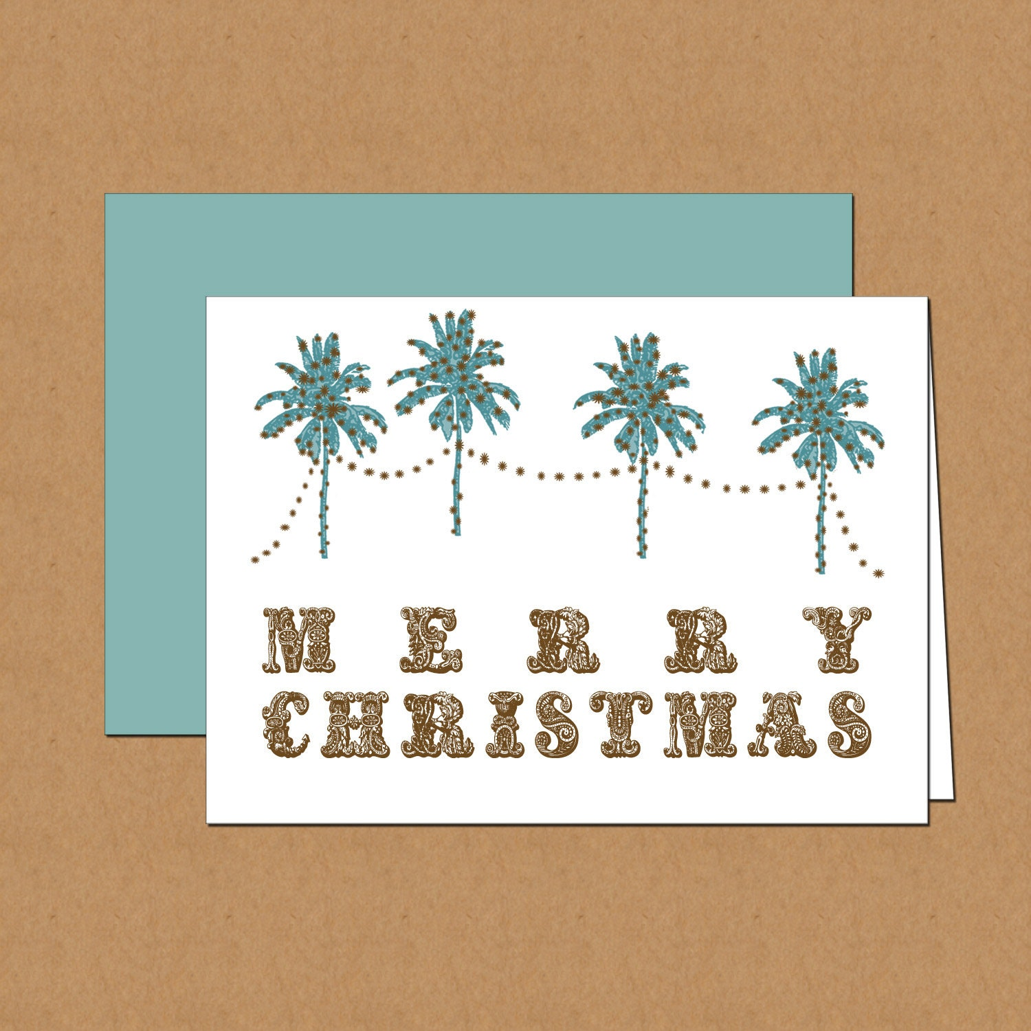 Palm Tree Holiday Cards Set Of 12