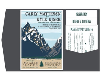 Vintage Mountain Wedding Invitation Pocket Fold- Sample