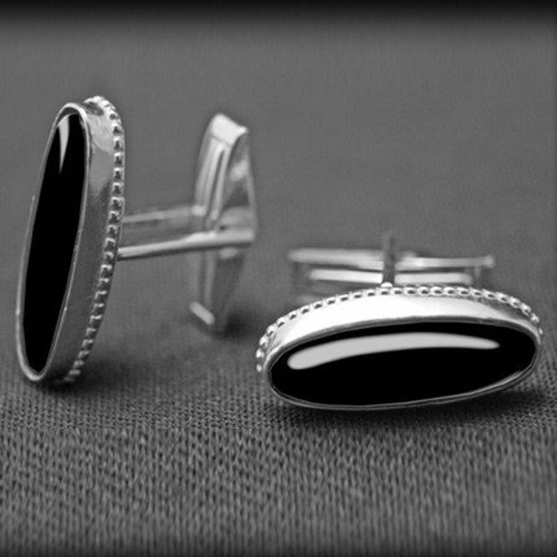 Wedding Gifts for Him Cuff Links Black Onyx Gemstone Sterling Silver Jewelry Handsome Tuxedo Suit Shirt