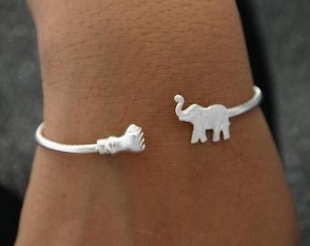 Sterling Silver Bracelet Elephant Jewelry