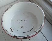 Vintage Enamel Basin Red White Round