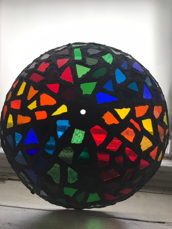 Vintage Stained Glass Lamp Shade, Black Glass Lamp Shades